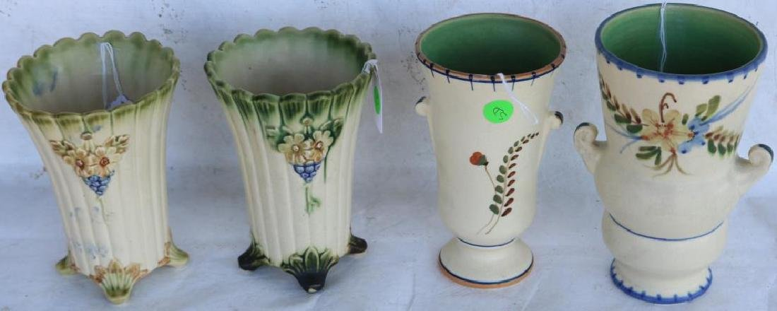 4 WELLER POTTERY VASES INC FOOTED PAIR W/ FLOWERS,