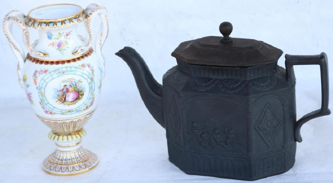 EARLY 19TH C. EMBOSSED BASALT TEAPOT W/ LATER