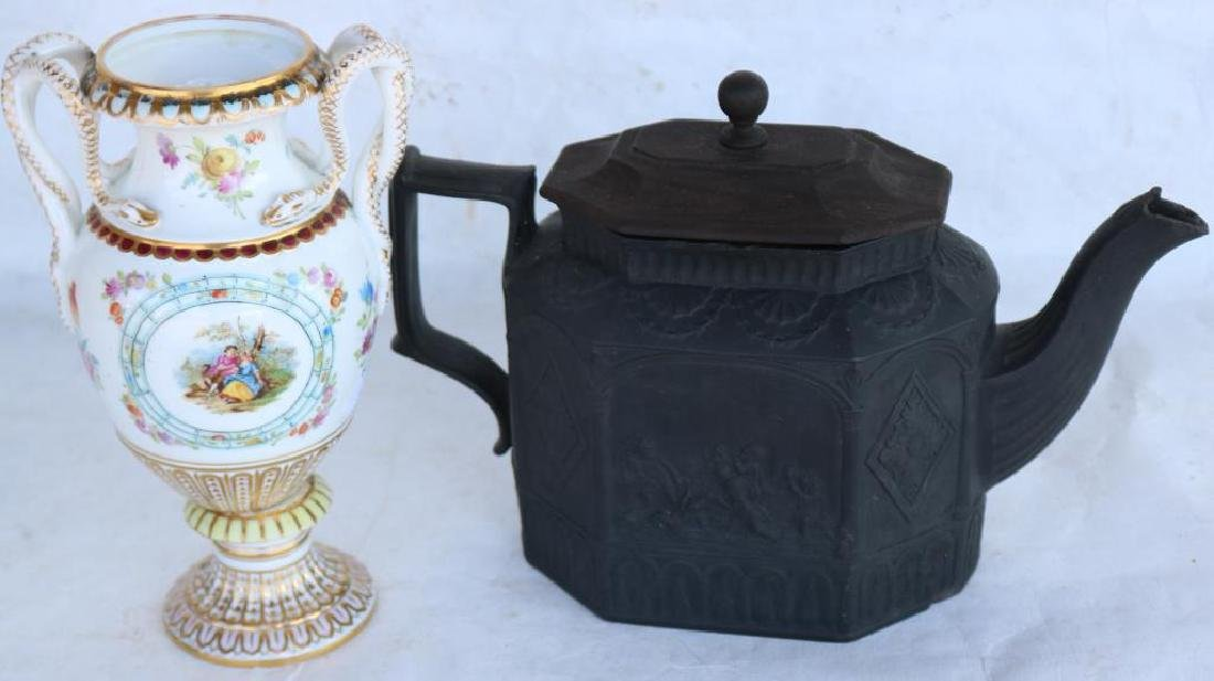 EARLY 19TH C. EMBOSSED BASALT TEAPOT W/ LATER - 2