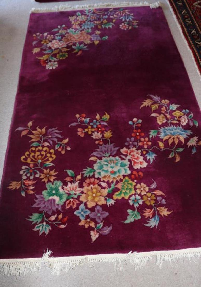 FLORAL CHINESE RUG, W/ PLUM BACKGROUND