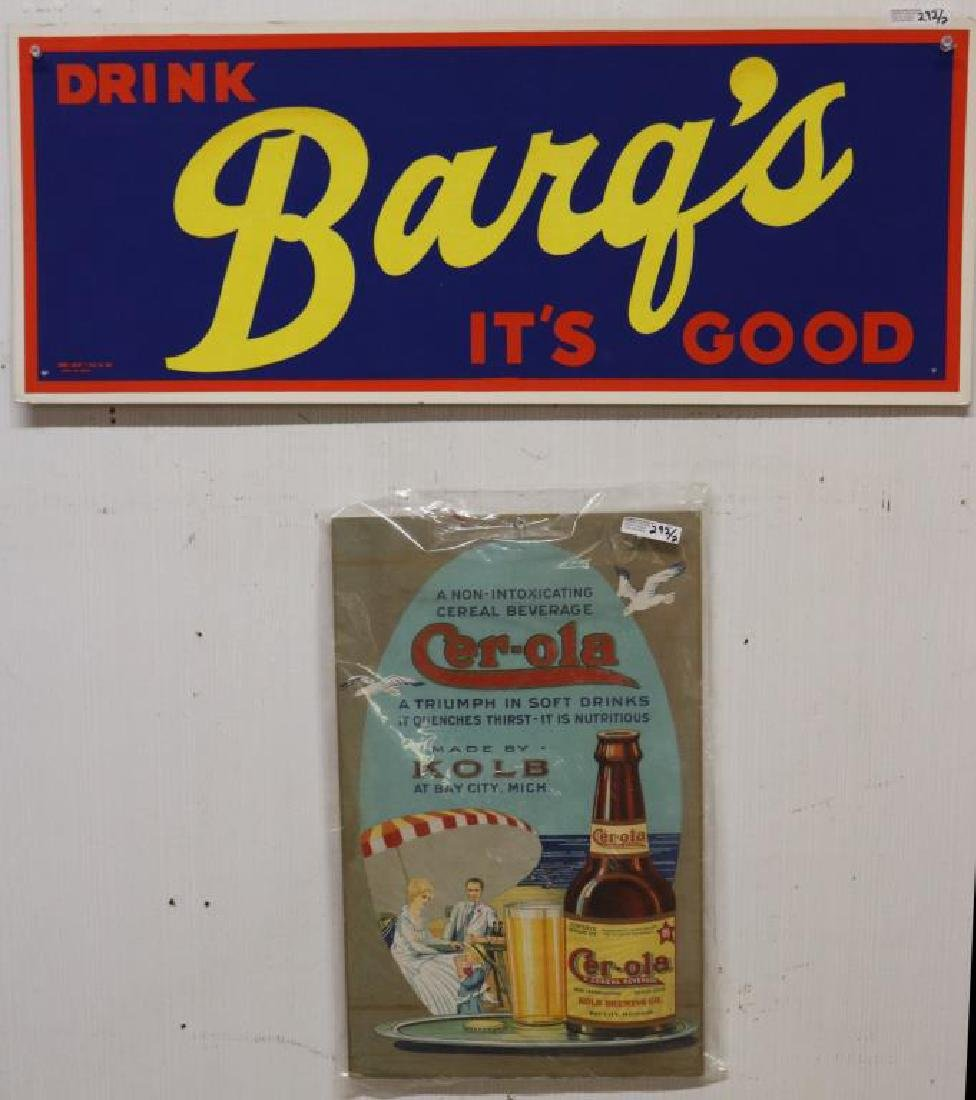 2 CARDBOARD SODA ADVERTISING SIGNS, BARQ'S,