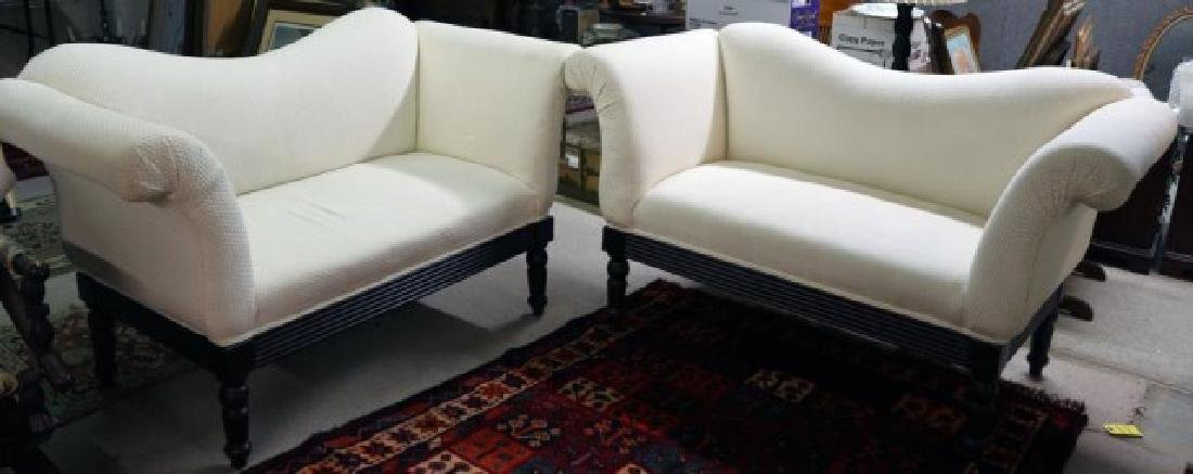 PAIR  WHITE LOVESEATS W/ WAFFLE WEAVE UPHOLSTERY,
