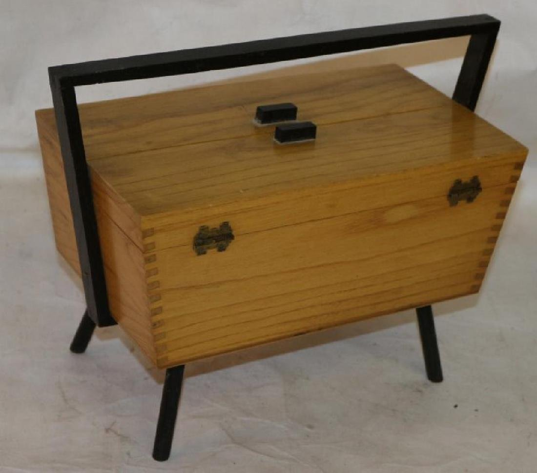 MID CENTURY STYLE SEWING BOX BASKET W/ DANISH