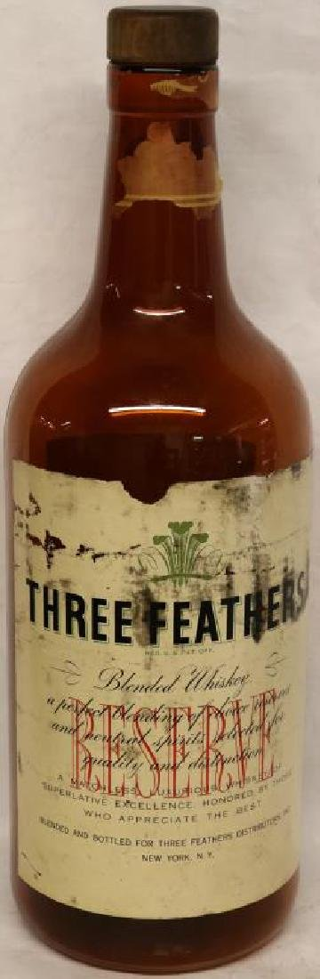 LG THREE  FEATHERS WHISKEY ADVERTISING BOTTLE W/