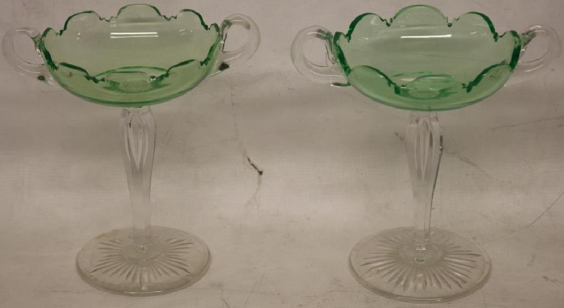 PR CUT GLASS HANDLED TAZZAS, UNUSUAL VASELINE GLAS