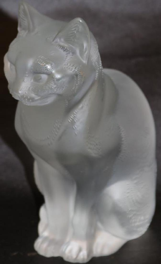 "HEAVY LALIQUE CAT FIGURE, 8 1/4""H, SCRIPT"