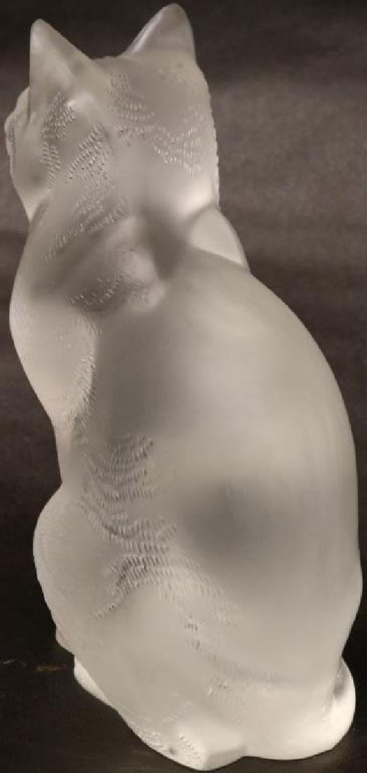 "HEAVY LALIQUE CAT FIGURE, 8 1/4""H, SCRIPT - 3"