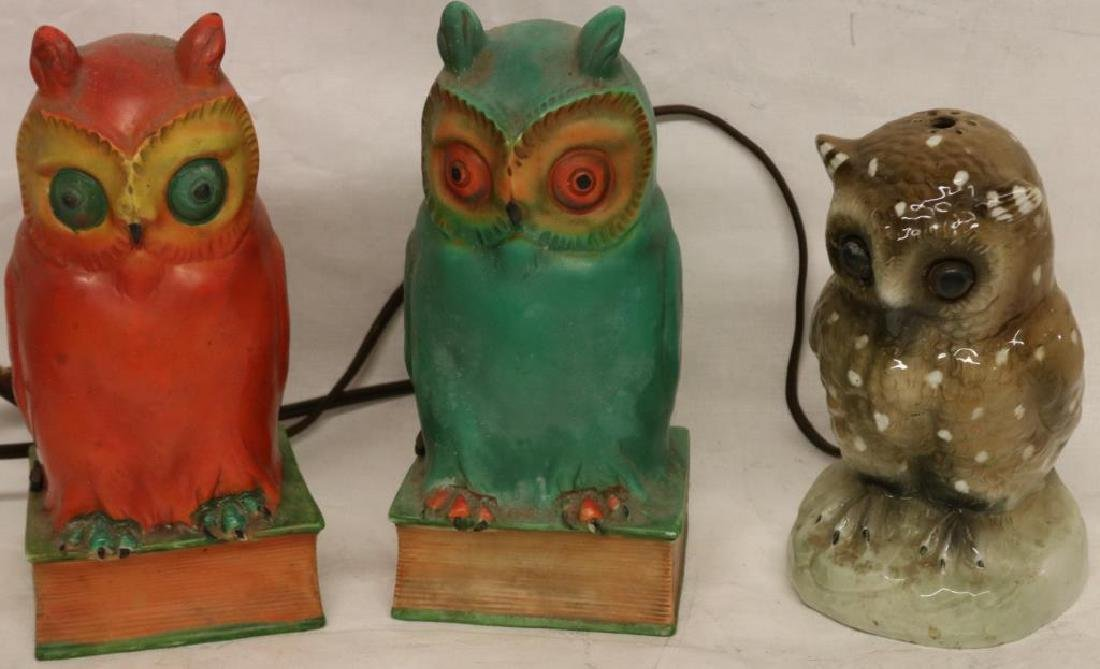 3 GERMAN PORCELAIN OWL FIGURAL NIGHT LIGHTS,