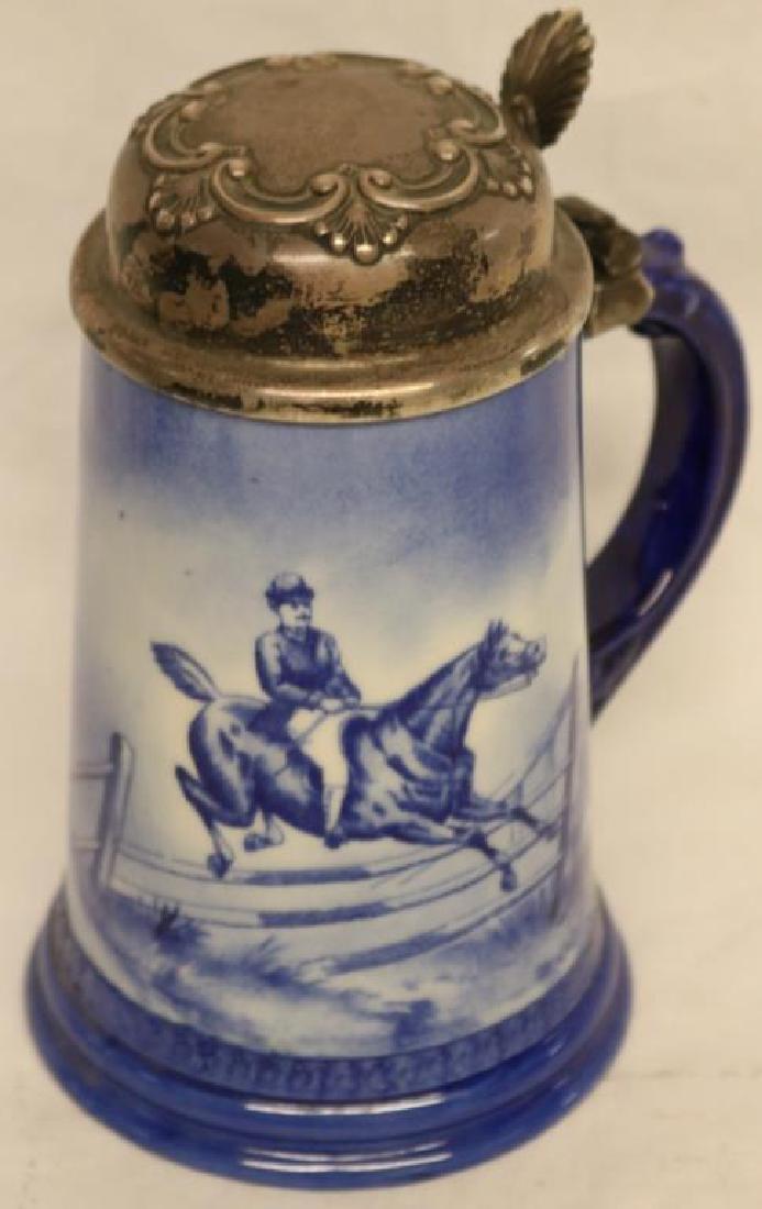 BLUE & WHITE PORCELAIN STEIN W/JUMPING HORSE & - 2