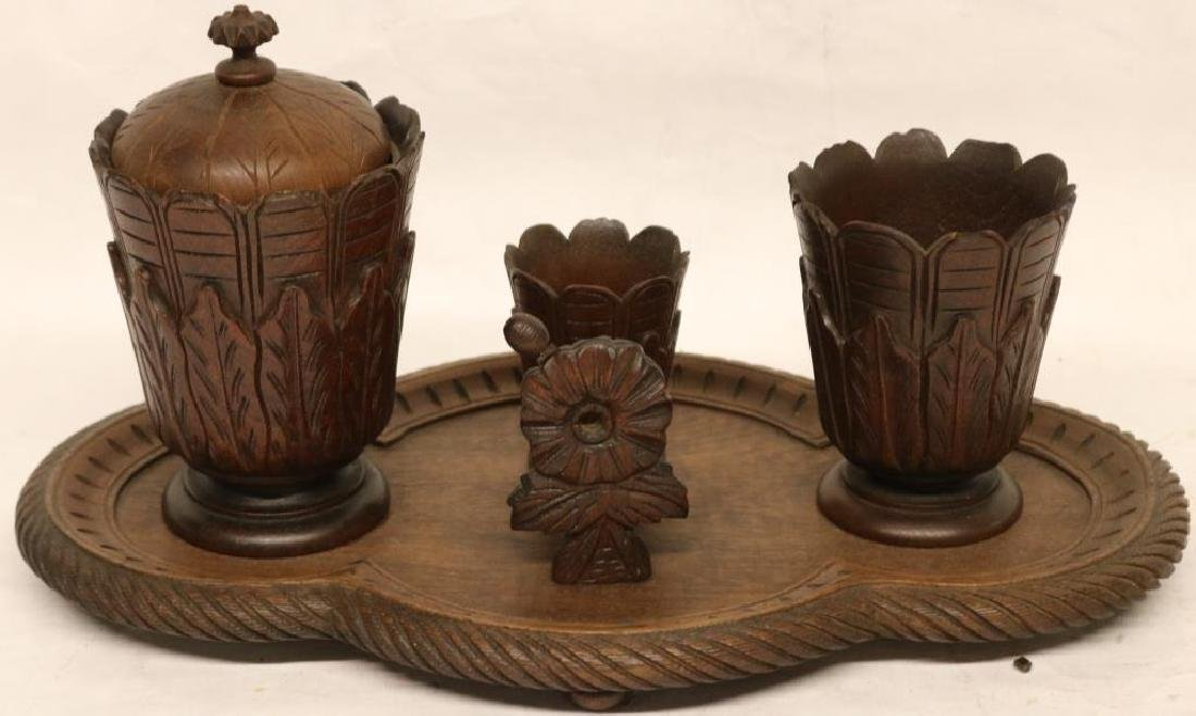 CARVED WALNUT SMOKING STAND, INCL CIGAR CUTTER,