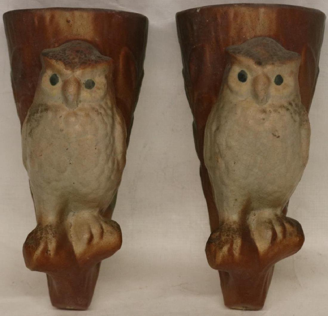 PR OF BRUSH POTTERY OWL FORM WALL POCKETS