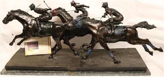 CONTEMPORARY BRONZE SCULPTURE TITLED WIN, PLACE