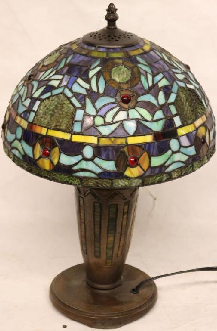 "CONTEMPORARY LEADED GLASS TABLE LAMP 18""H X 12"" D"