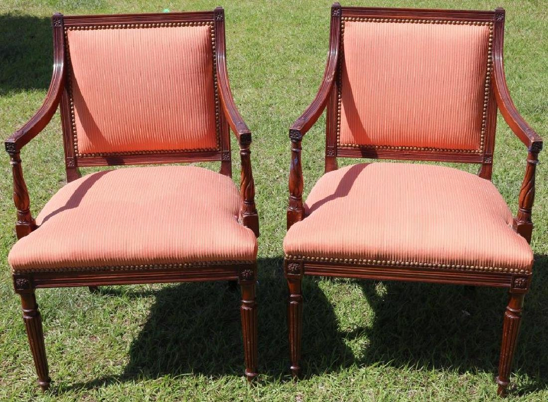 PR OF CUSTOM MAHOGANY SHERATON STYLE ARM CHAIRS