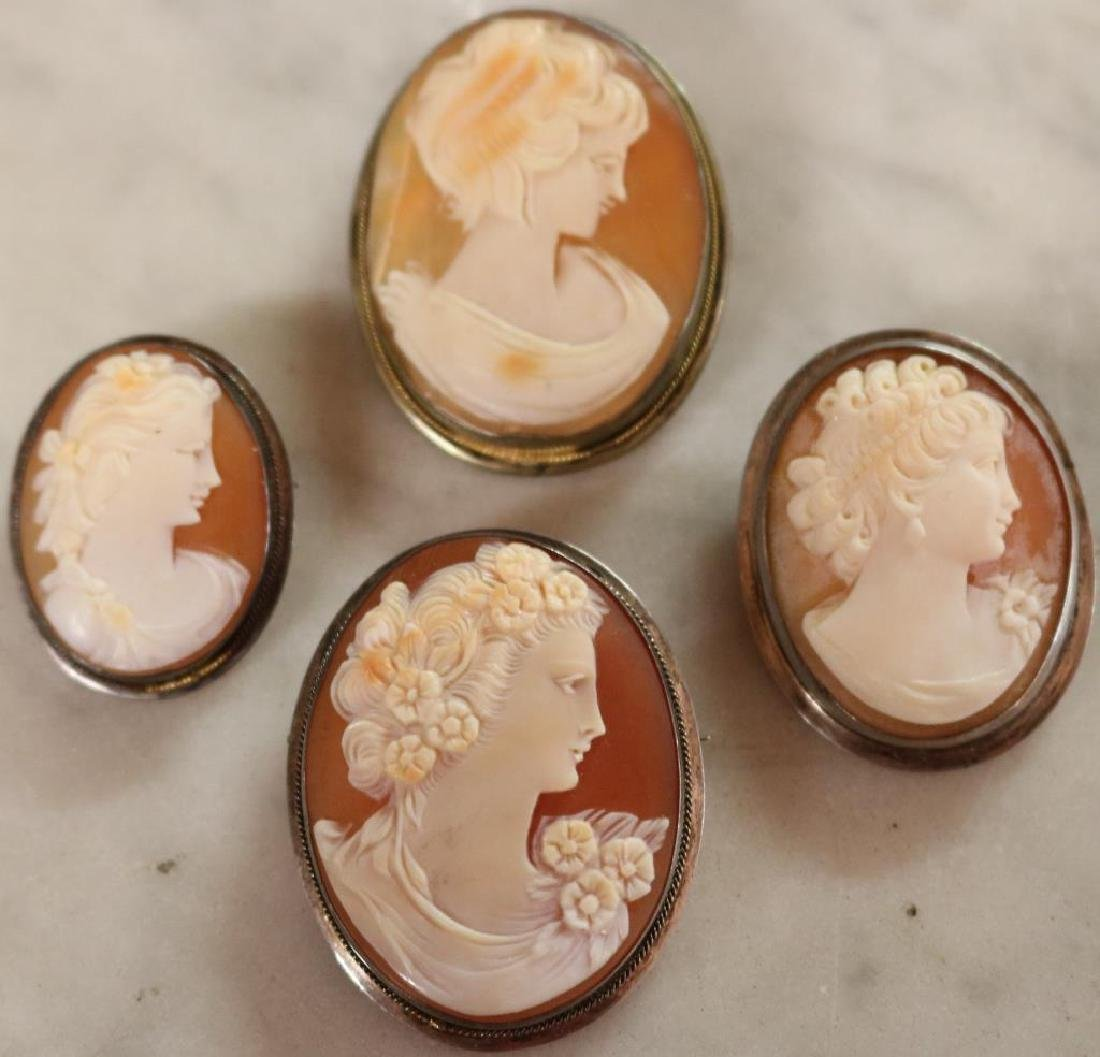 LOT OF 4 SHELL CARVED CAMEOS W/LADIES HEADS, 3 IN