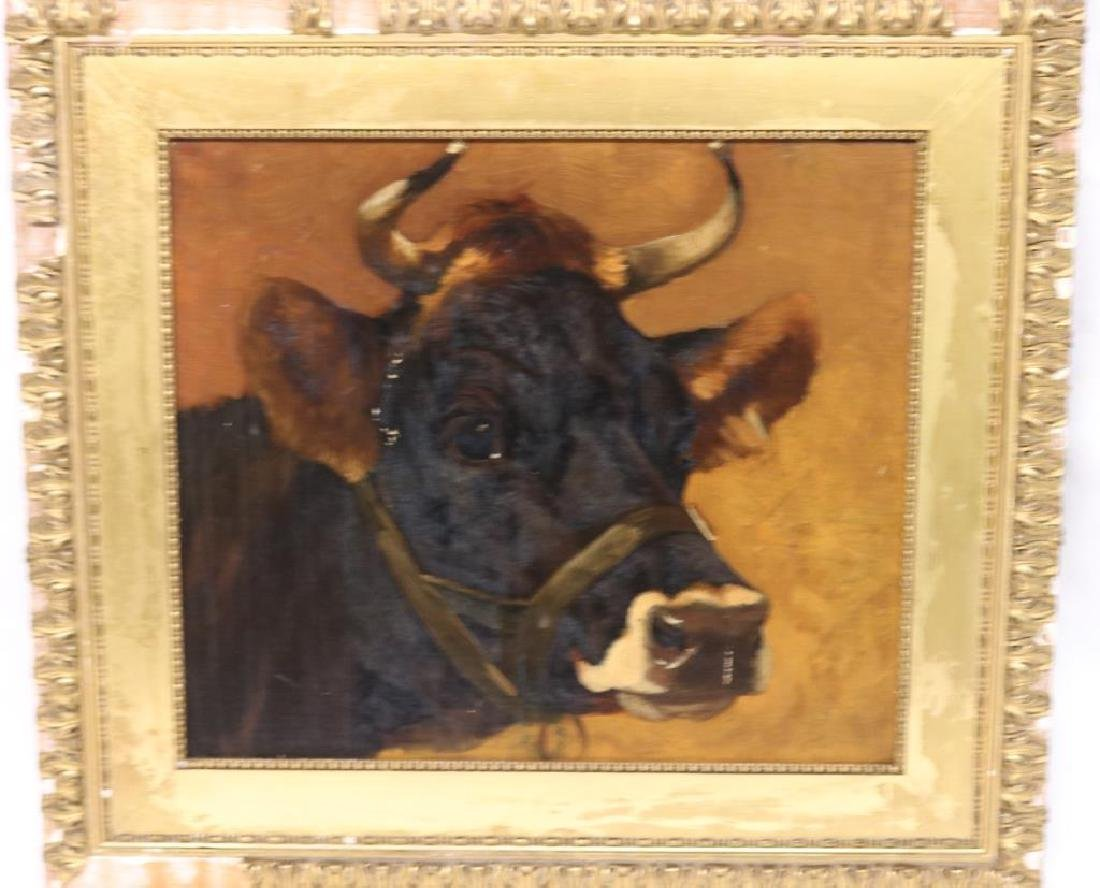 LATE 19TH C. OIL ON CANVAS BOARD PORTRAIT OF A COW