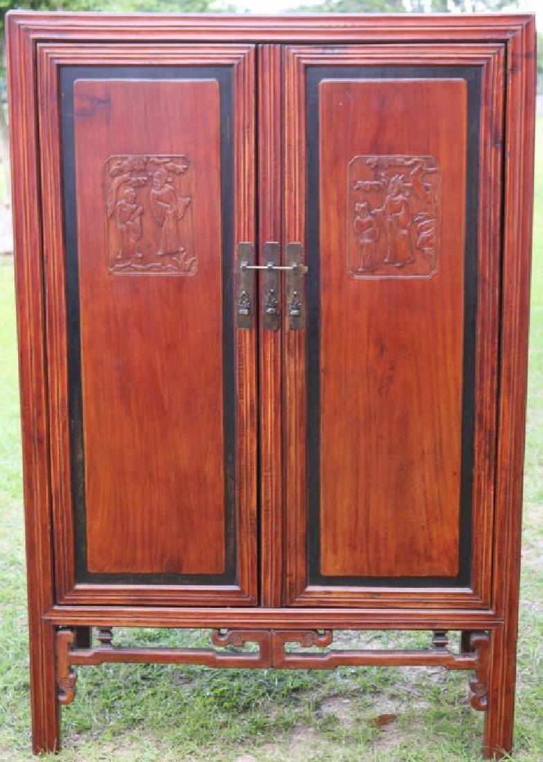 ORIENTAL 2 DOOR CABINET, CARVED PANELS W/