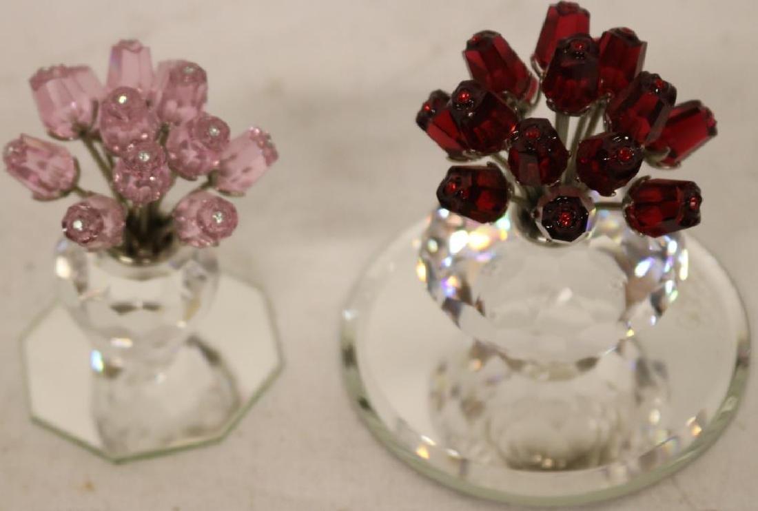 2 SWAROVSKI VASE W/FLOWERS, PINK & RED,