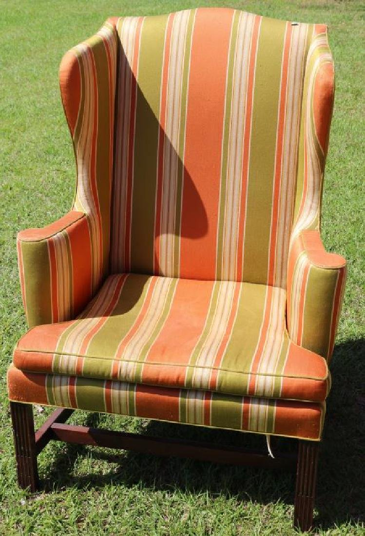 SIGNED KITTINGER WING CHAIR, STOCK FLUTED FRONT