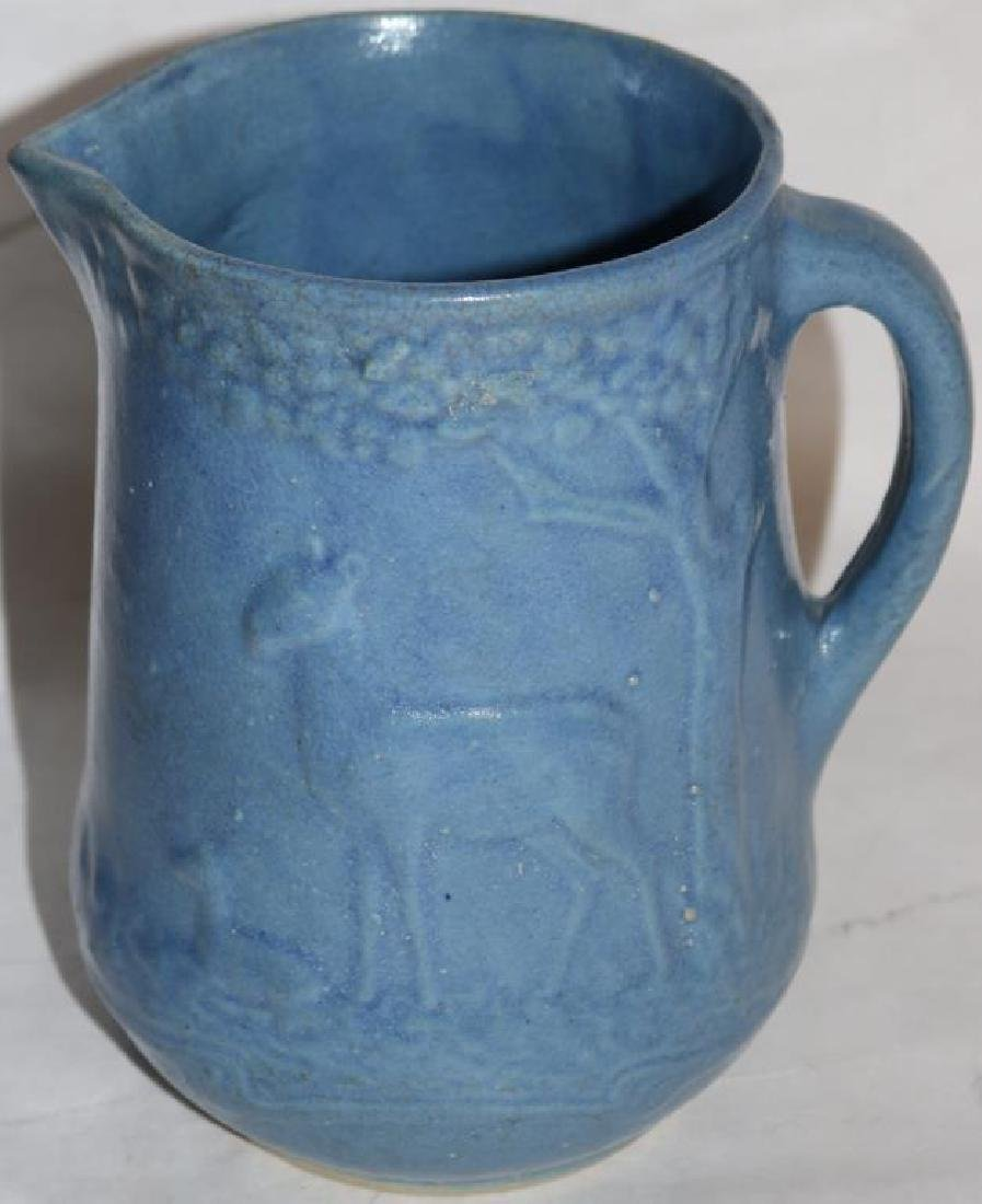 SALT GLAZED HANDLED PITCHER W/DEER & FAWN