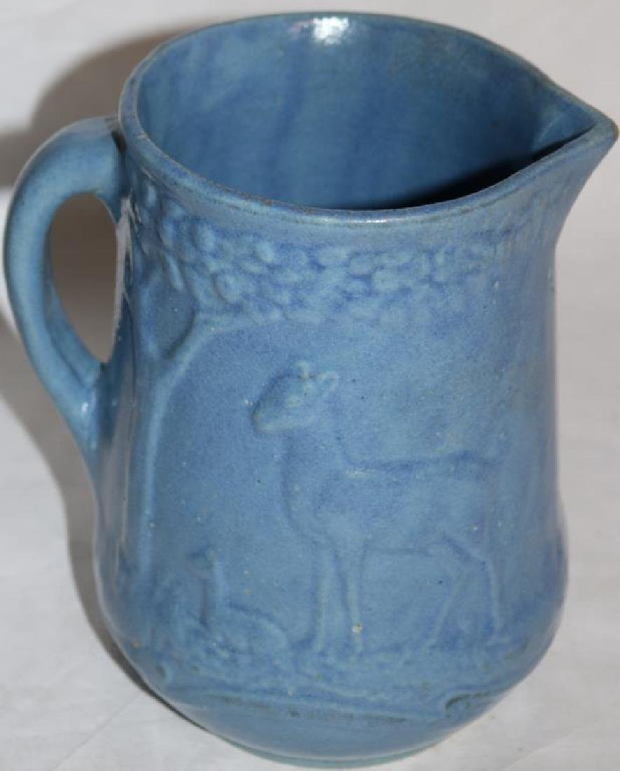 SALT GLAZED HANDLED PITCHER W/DEER & FAWN - 2
