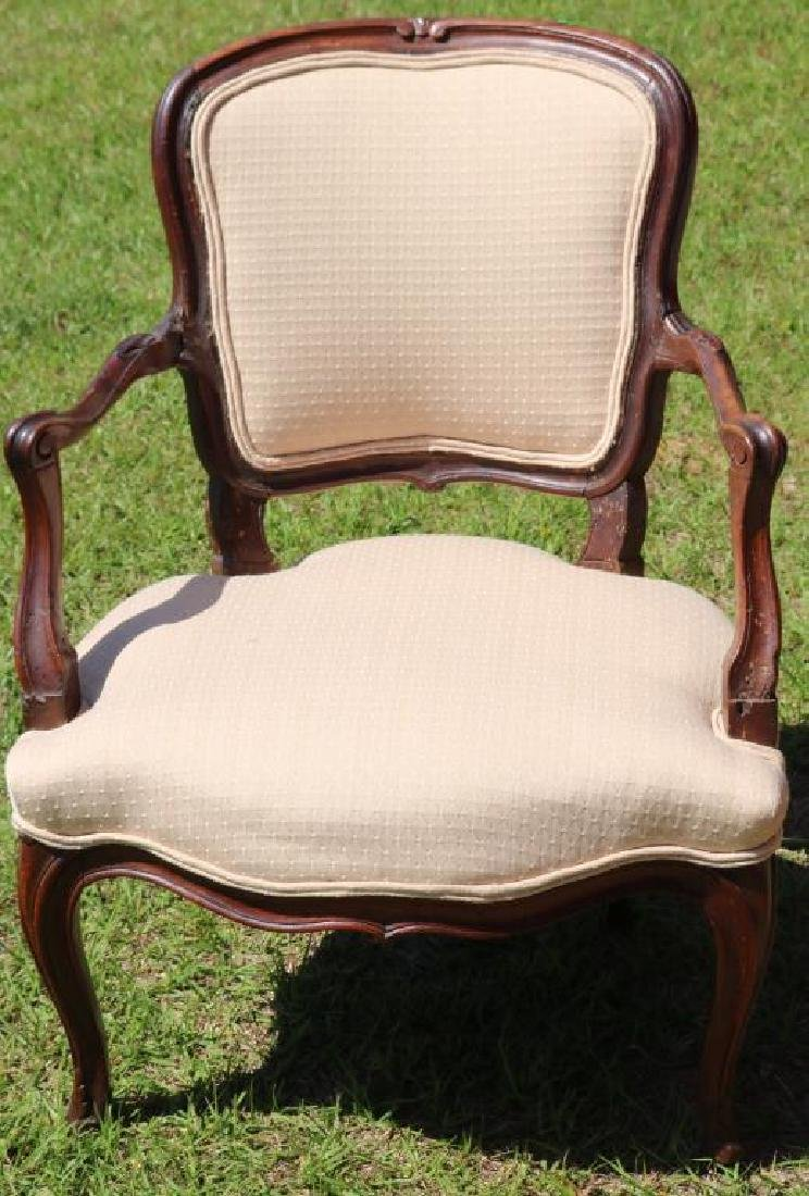 EARLY 19TH C. FRENCH PROVINCIAL OPEN ARMCHAIR