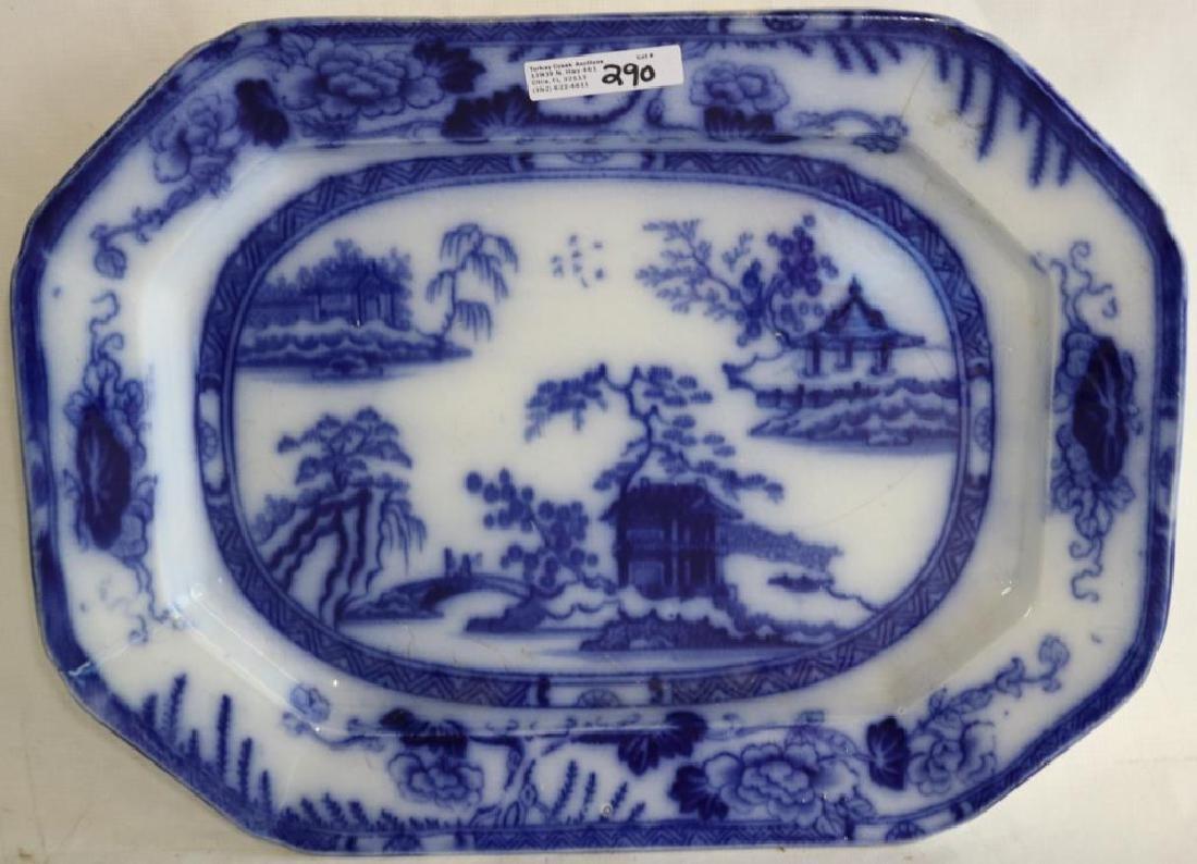 19TH C. FLOW BLUE PLATTER, HONG KONG PATTERN,
