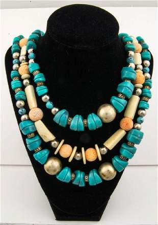 THREE-STRAND MAN-MADE TURQUOISE NECKLACE