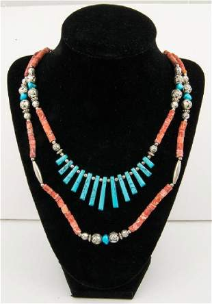 NECKLACE WITH CORAL AND TURQUOISE BEADS