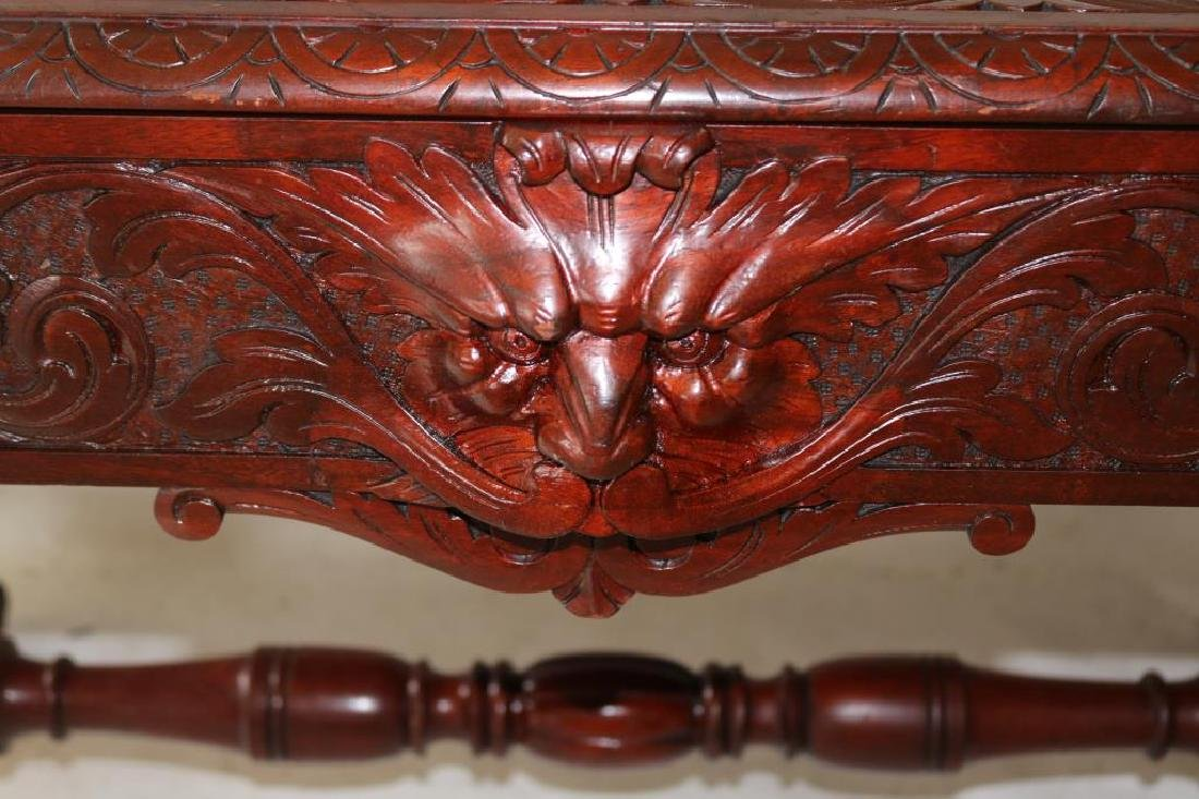 LATE 19TH C. CARVED MAHOGANY LIBRARY TABLE W/ - 2
