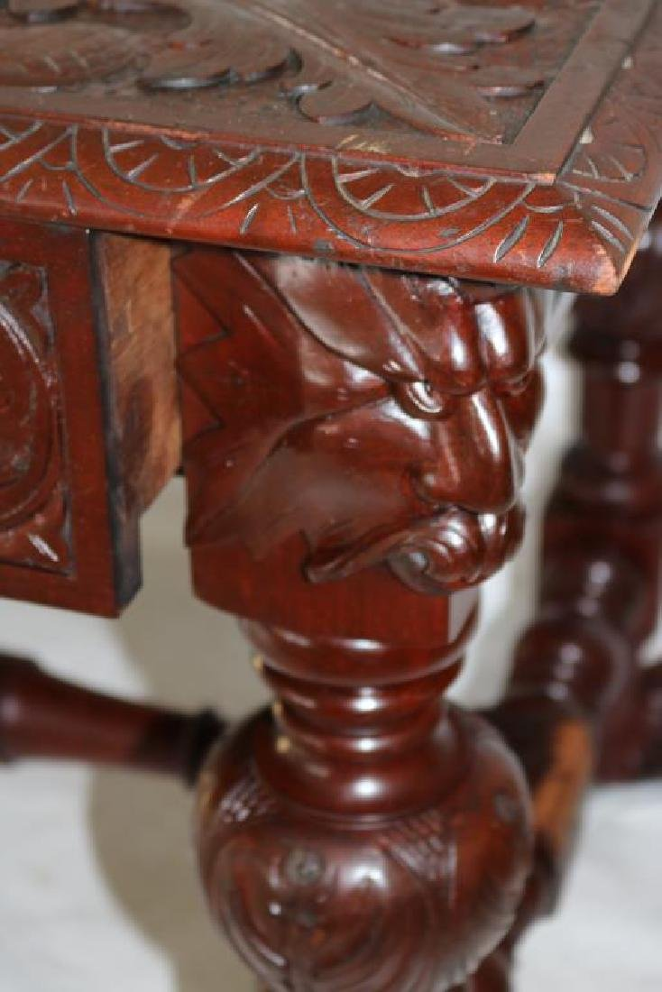 LATE 19TH C. CARVED MAHOGANY LIBRARY TABLE W/ - 3