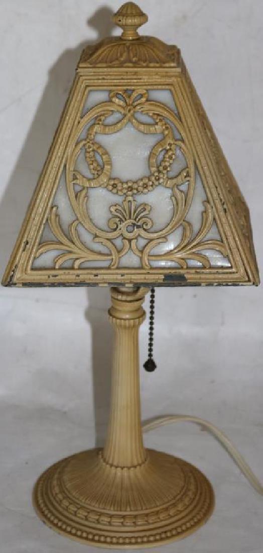 SLAG GLASS BOUDOIR LAMP W/ ORIGINAL WHITE
