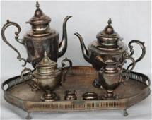 5 PCS. STERLING TEA SET WITH PLATED TRAY & 2