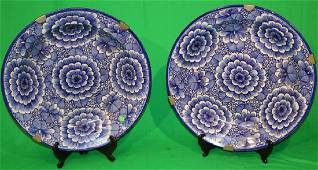 PR 19TH C. BLUE & WHITE ORIENTAL CHARGERS, FLORAL