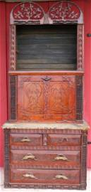 EXCEPTIONAL LATE 19TH C. TRAMP ART DESK, CHEST