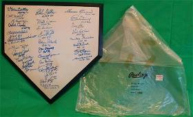 RAWLINGS AUTOGRAPHED HOME PLATE WITH ORIGINAL