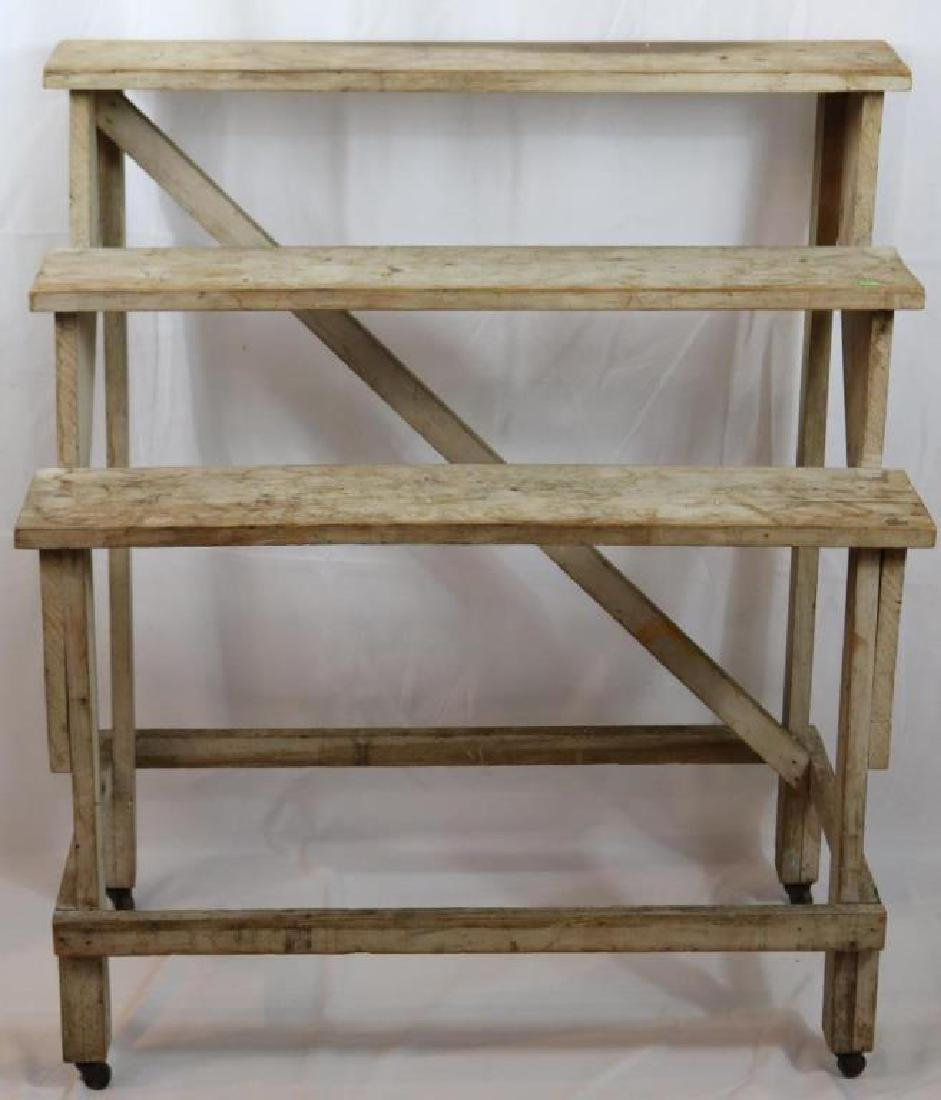 EARLY 20TH C. THREE TIER PLANT STAND, IN, OLD