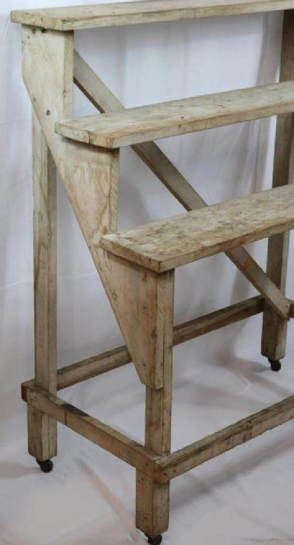 EARLY 20TH C. THREE TIER PLANT STAND, IN, OLD - 2