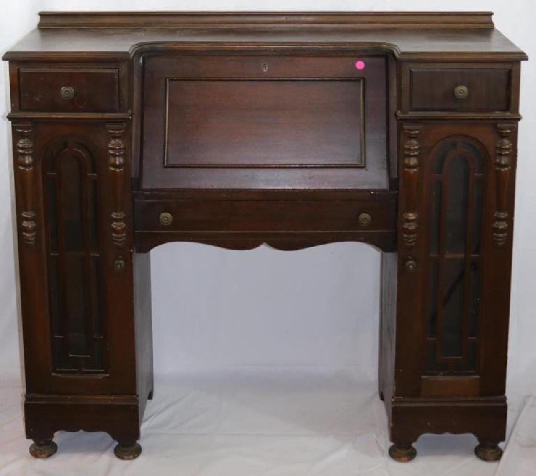 1920s WALNUT SIDE BY SIDE DESK WITH CENTER DESK