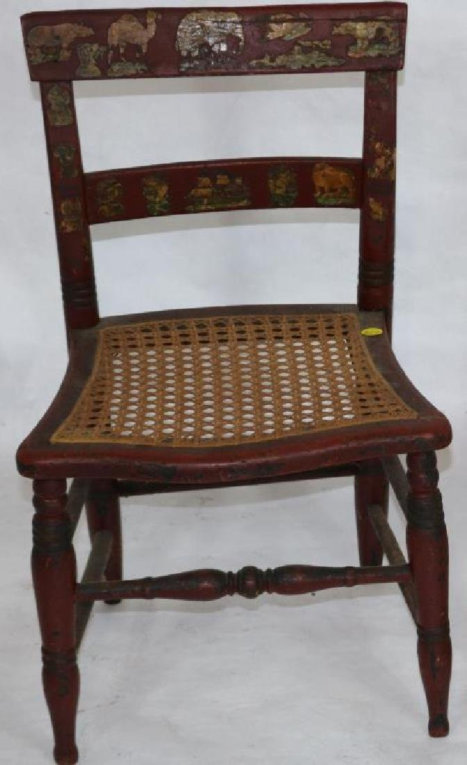 19TH C. TWO SLAT SIDE CHAIR WITH CANE SEAT, RED