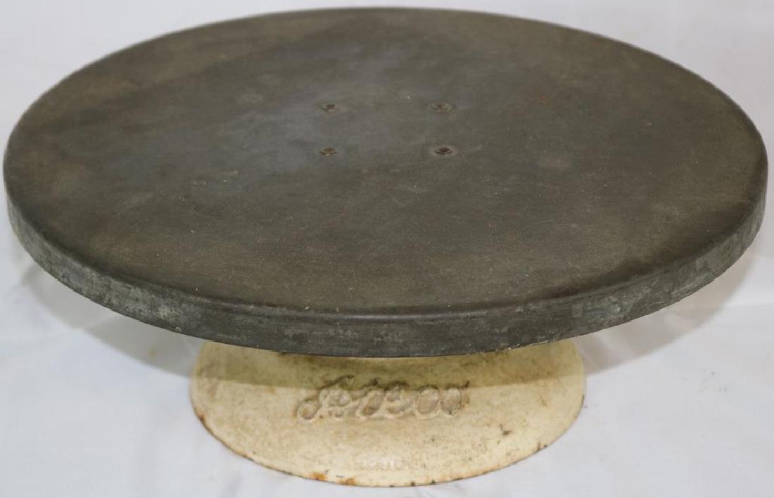 COUNTRY STORE CAKE STAND, CAST IRON BASE,