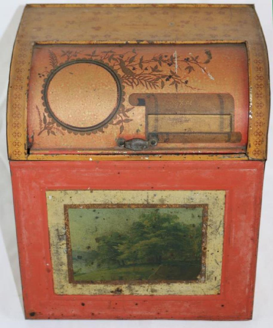 19TH C. LITHO TIN CANISTER WITH ROLL FRONT, MADE