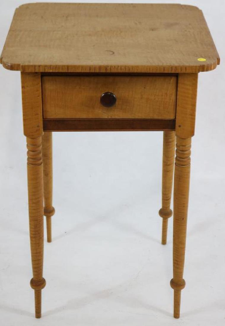 19TH C. TIGER MAPLE 1 DRAWER STAND, COOKIE