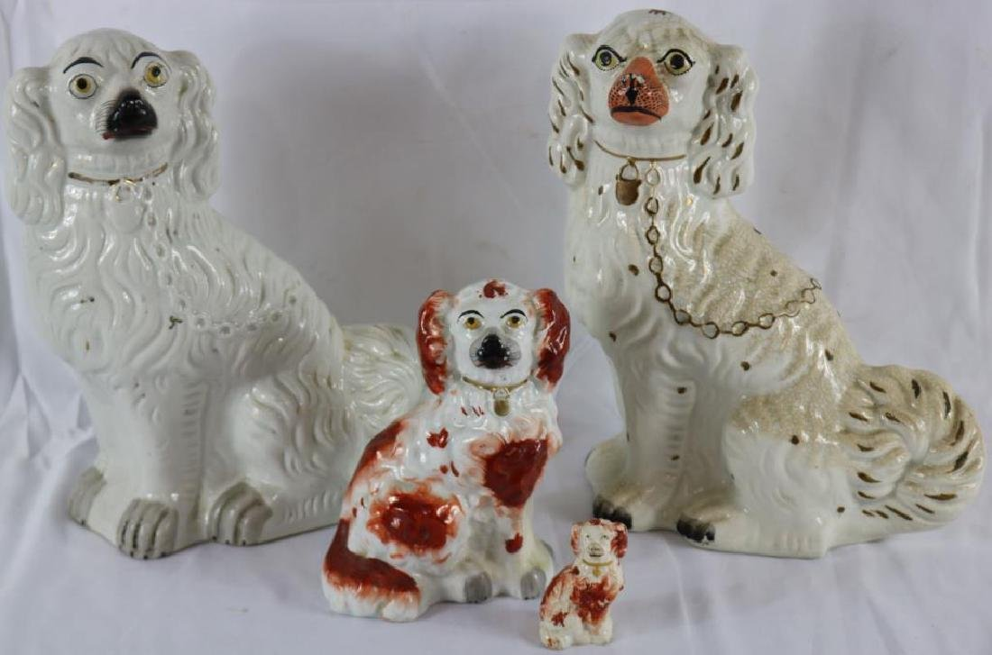 """LOT OF FOUR 19TH C. STAFFORDSHIRE DOGS, AS IS, 3"""""""