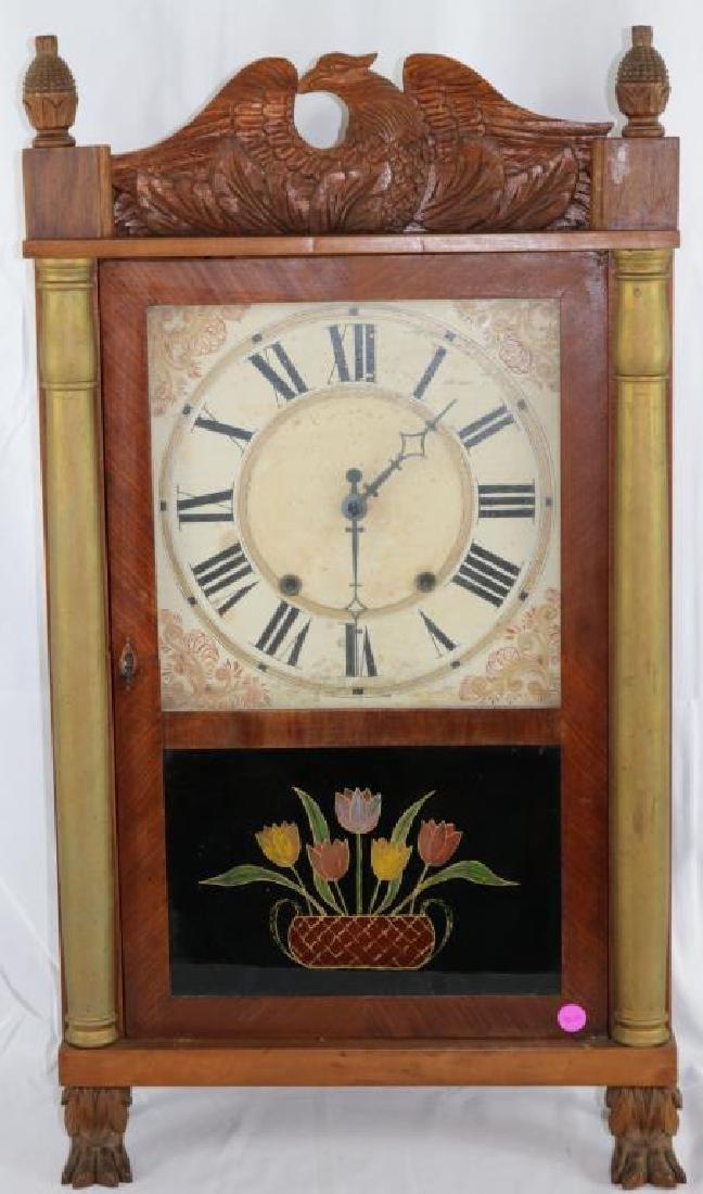 19TH C. MAHOGANY COLUMN FRONT MANTLE CLOCK