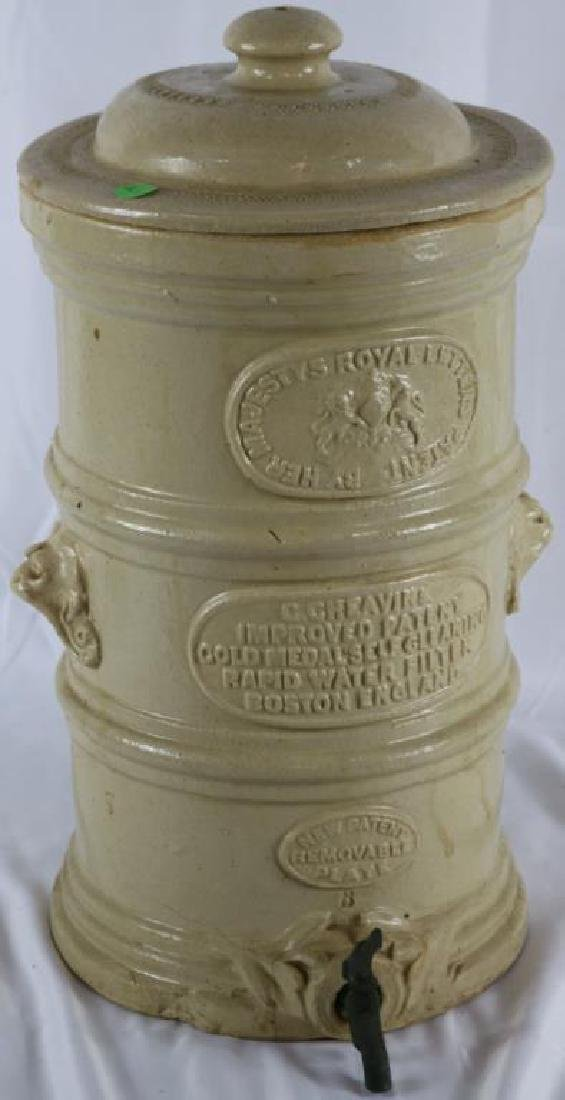 19TH C. STONEWARE WATER FILTER BY CHEAVINS