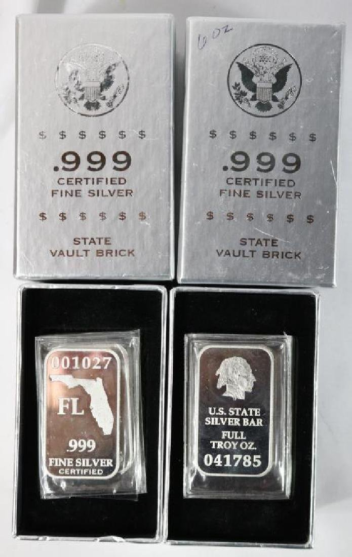 TWO BOXED SET OF 6 ONE TROY OZ BARS OF SILVER IN