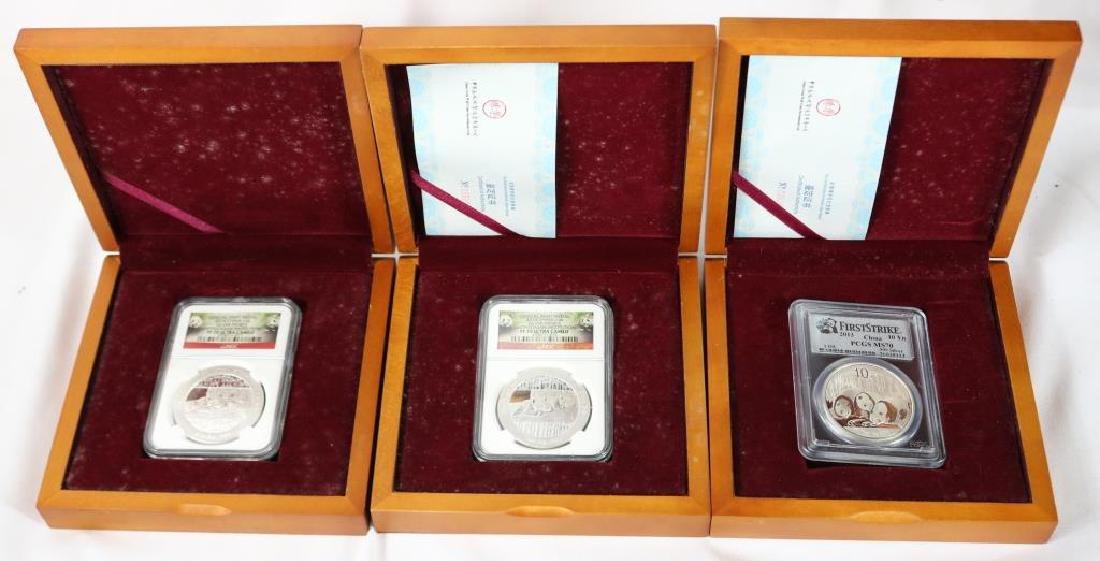 3 BOXED 2014 CHINA 1 OZ SILVER PANDAS, PCGS & NGC