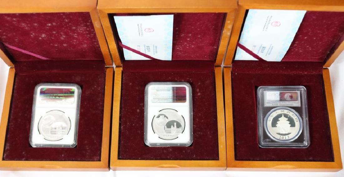 3 BOXED 2014 CHINA 1 OZ SILVER PANDAS, PCGS & NGC - 5
