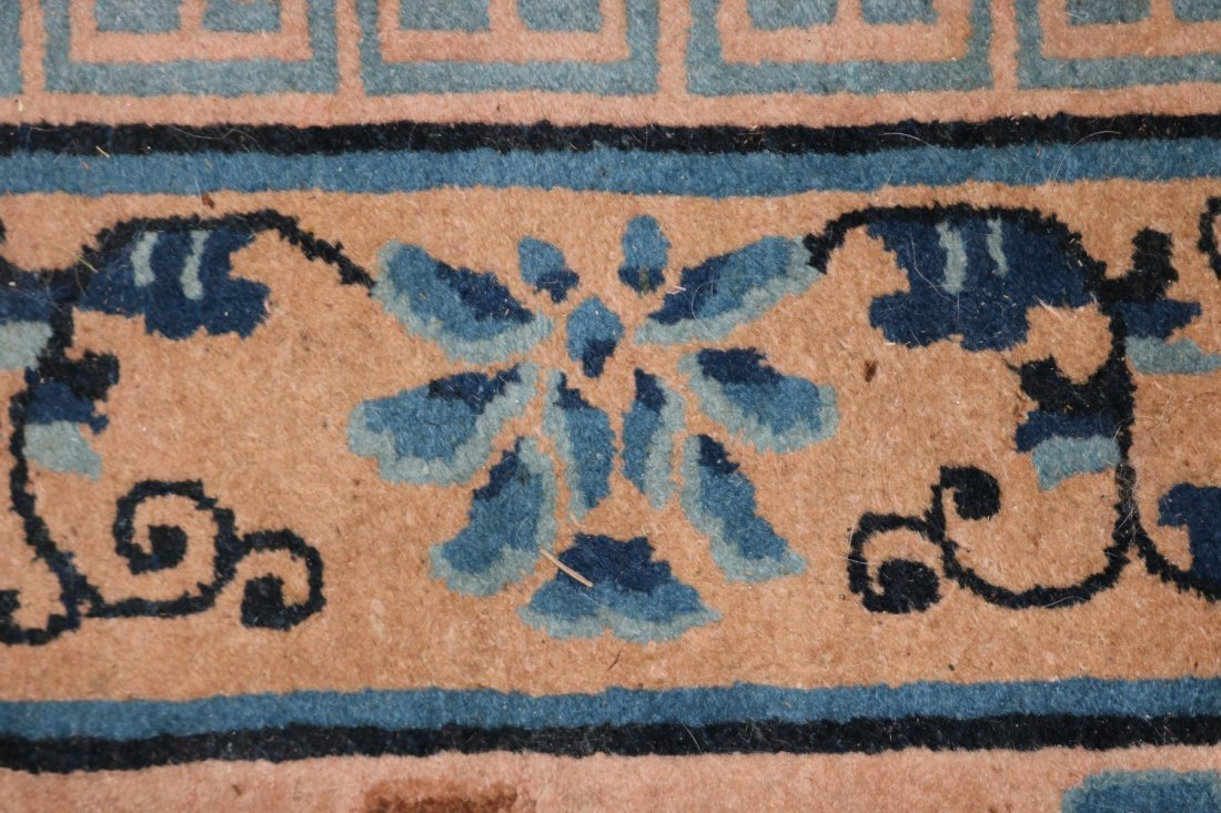 SEMI ANTIQUE CHINESE AREA RUG WITH DRAGON CENTER, - 4